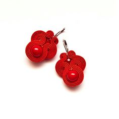 Red dangle earrings soutache. Red bead earrings unique. by MANJApl