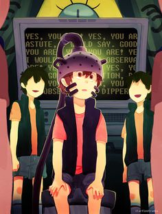 """ASTUTE, I WOULD SAY. GOOD OBSERVATION, DIPPER.originally wanted to draw the dipper clones but it turned into this one instead and I realized why I found the repeating""""YES, YOU ARE"""" familiar."""