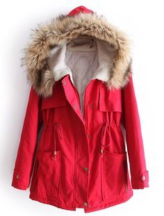 Nice pop of red in dull winter!  Red Fur Hooded Long Sleeve Drawstring Pockets Coat - Sheinside.com