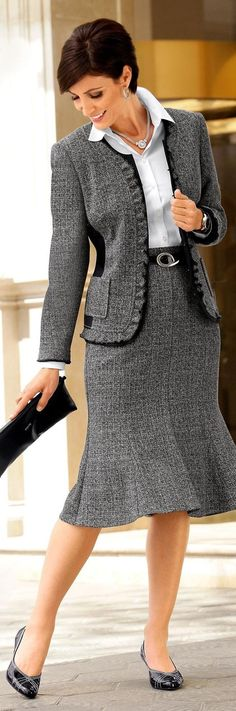 Calf length skirts are fine for business formal offices, but we tend to stay away from them because they make your legs shorter. Follow us for more inspiration and ideas on the latest skirt fashion!  https://www.pinterest.com/ritaandphill/conservative-office-outfits/