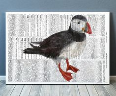 Beautiful Puffin art for your home and office. Lovely Bird print. Nice contemporary Dictionary print. Cute Animal poster. SIZES: A4 (8.3 x 11) and