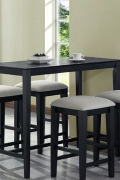 Monarch Specialties Grain Counter Height Kitchen Table, by Black Counter Height Table Perfect for small spaces Cappuccino color Counter Height Kitchen Table, Kitchen Tables, Bar Counter, Ikea Kitchen, Kitchen Dining, Kitchen Ideas, Bistro Kitchen, Table Height, High Top Table Kitchen