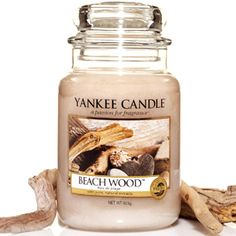 Yankee Candle: Beach Wood : Seasoned by the elements. . . this modern blend of vetiver, salt air and driftwood creates an intriguing fragrance.