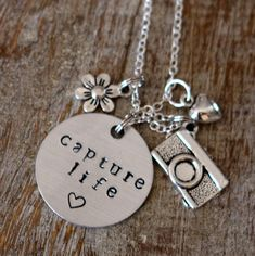Capture Life Charm Necklace - Camera - Flower - Heart - Silver Charm Necklace - Photographer Gift - Photography by LennieMarie on Etsy https://www.etsy.com/listing/577333088/capture-life-charm-necklace-camera