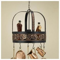 Hi-Lite Leaf Hanging Pot Rack with Light Accent Finish: Brushed Gold Topcoat, Copper Insert: Yes, Base Finish: Tuscany