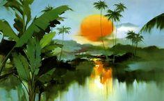 Китайский художник H. Leung. Красивый пейзаж маслом десятый