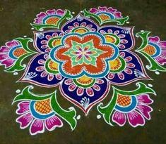 Easy Rangoli Designs Videos, Indian Rangoli Designs, Simple Rangoli Designs Images, Rangoli Designs Latest, Rangoli Designs Flower, Rangoli Border Designs, Rangoli Patterns, Rangoli Designs With Dots, Beautiful Rangoli Designs