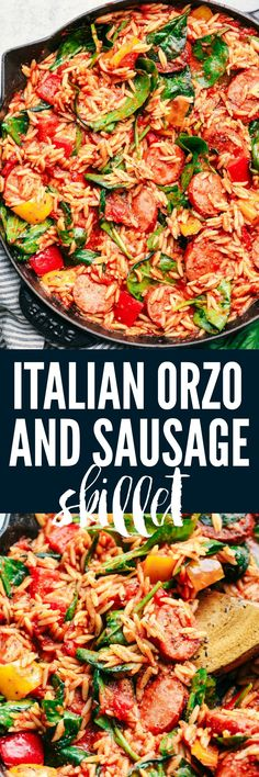 Italian Sausage and Vegetable Orzo Skillet is an easy to make dinner filled with sausage, peppers, spinach, and orzo all in a rich tomato sauce.   Made in one skillet with Italian spices, this will become a family favorite!