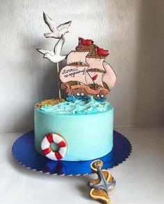 Baby Boy Birthday Cake, Birthday Cookies, Fondant Cake Designs, Fondant Cakes, Cupcakes, Cupcake Cookies, Sea Cakes, Baby Cakes, Bookmarks Kids