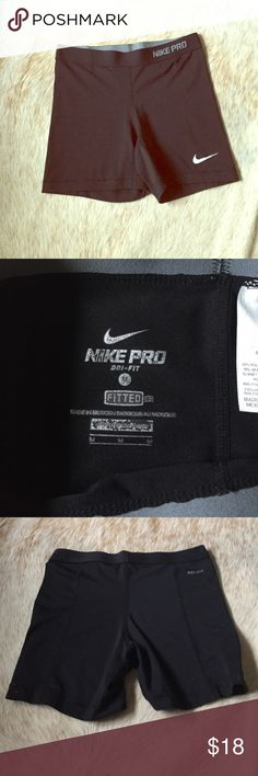 Black nike pro dri-fit workout spandex Great condition! Only worn a couple times and washed since! Perfect for working out with a t-shirt or workout tank :) bundle to save 15% off 2, 20% off 3! Hope you love these! Nike Shorts