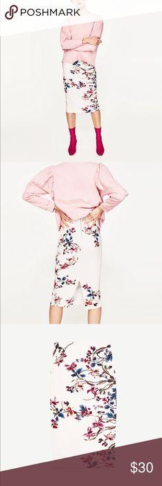Zara Floral pencil skirt New with tag Zara Skirts Midi