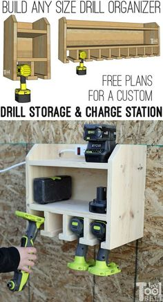 Organize your cordless drills and tools with a custom drill storage and charge station for about $20! Tell the plans how many tool stalls you want, and the free plans will customize your cut list. Free plans on hertoolbelt.com