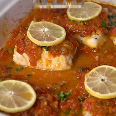 You'll love the tasty Sicilian twist to this baked fish. And it's so darn easy! You'll love the tasty Sicilian twist to this baked fish. And it's so darn easy! Seafood Dishes, Fish And Seafood, Seafood Recipes, Cooking Recipes, Italian Fish Recipes, French Recipes, Cooking Tools, Baked Cod, Baked Fish