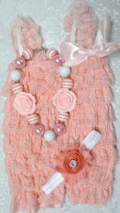 Newborn Petti Lace Romper Set w/ Romper, Headband & Chunky Necklace- Light Pink