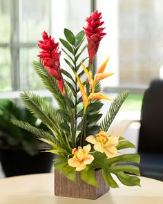 Faux Torch Ginger and Orchid Arrangement, $99 Looks & feels alive Exotic tropical design from #Silkflowers.com