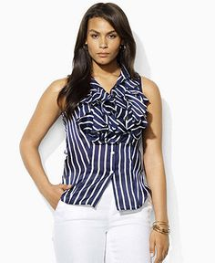 Lauren by Ralph Lauren Plus Size Top, Valencie Sleeveless Silk Striped Ruffled Web ID: 679343