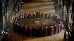 The knights of the round table. They even left Merlin a seat, but of course he wouldn't take it