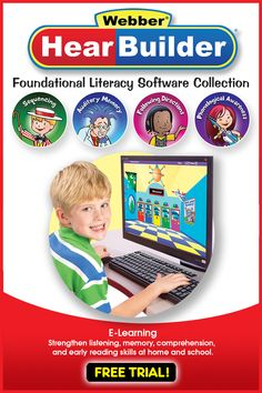 Get a free trial of HearBuilder Foundational Literacy Software Collection and help your young students build their skills in following directions, phonological awareness, sequencing, and auditory memory. Strengthen their literacy ability in listening, memory, and comprehension. HearBuilder offers multi-level activities with specific objectives that support State and Common Core Standards, plus you can get comprehensive reports on students' progress. Good for school and home desktops and… Speech Language Therapy, Speech And Language, Educational Software, Early Reading, Phonological Awareness, Common Core Standards, Reading Skills, Comprehension, Literacy