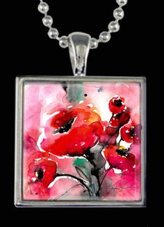 Poppies Watercolor Necklace ... Beautiful Floral Flower Necklace with Original Art by Kathy Morton Stanion EBSQ
