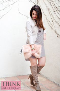 There's Hope for Taupe! Fashion inspiration from Lisa Tufano and THINK LIKE A BOSS LADY   pink faux fur clutch and INC International Tacy Boots in Taupe