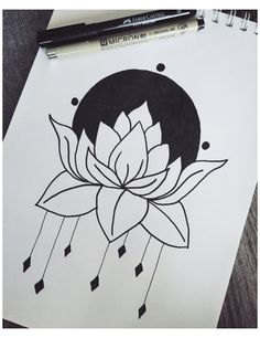 Mini Drawings, Cute Easy Drawings, Art Drawings Sketches Simple, Pencil Art Drawings, Doodle Drawings, Simple Tumblr Drawings, Easy Pen Drawing, Lotus Drawing, Simple Flower Drawing