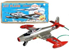 c.1951 Linemar, Battery Operated Jet Plane w/Automatic Shooting Rockets (Factory Sample)
