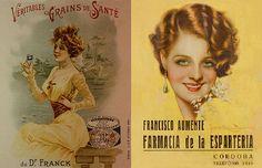Publicidad siglo XX 1900 al 1979. Granos de Salud del Dr. Frank 1918 y rotulo de la Farmacia Esparteria 1945