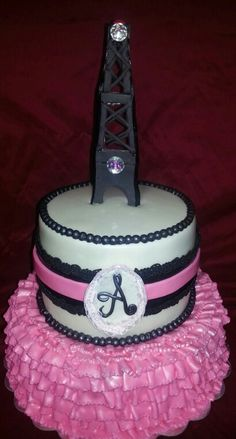 Paris theme baby shower cake