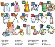 Learning about baby care vocabulary English lesson