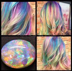 Opal Hair: The Latest Pastel Rainbow Hair Trend by Rianna. Get more opal hair inspiration Latest Hair Color, Cool Hair Color, Hair Colors, Pastel Rainbow Hair, Colorful Hair, Pelo Multicolor, Opal Hair, Coloured Hair, Unicorn Hair