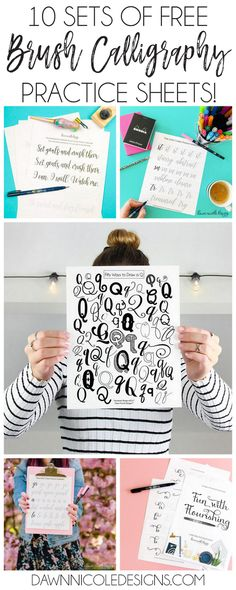 10 Free Hand Lettering Practice Worksheets | DawnNicoleDesigns.com