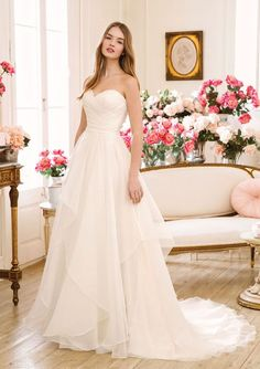 Sweetheart Gowns - Style Sweetheart Asymmetric Pleated Organza A-Line Gown available at Simply Elegant Bridal Boutique in Redding, CA Affordable Wedding Dresses, Wedding Dresses Plus Size, New Wedding Dresses, Designer Wedding Dresses, Lillian West, Sweetheart Bridal, Sweetheart Wedding Dress, Justin Alexander, Sincerity Bridal