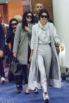 A stylish arrival: Kylie earlier on Tuesday flew into Sydney from LA with her model sister, Kendall Jenner