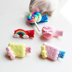 1 Pcs New baby girls hairpins polymer clay stereo cartoon candy hair clips In UK