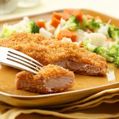 These quick breaded pork cutlets made with just a few ingredients are so delicious everyone will be wishing they helped make them. Cutting the super-low-fat pork tenderloin into long fillets makes it quick-cooking. Serve with a medley of steamed vegetables and a side of mashed potatoes for a taste of nostalgia.    i MADE THESE AND THEY ARE AWESOME.