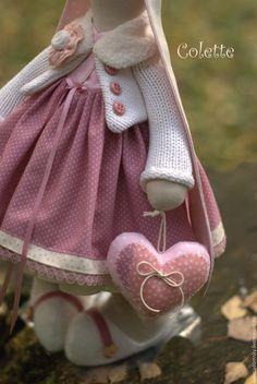Купить Текстильная зайка Koлетт (Colette ) - 38 см - коралловый, зайка девочка