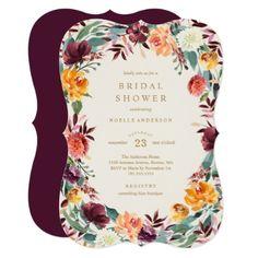 Fall Border Bridal Shower Invitation - wedding invitations diy cyo special idea personalize card