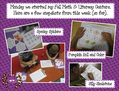 Fall math and literacy centers in action