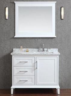 Sink to one side provides more useable counter space.Ace 42 inch Single Sink White Bathroom Vanity Set With Mirror.