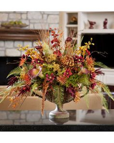 Autumn Bliss Silk Flower Centerpiece | Seasonal Arrangements for Sale