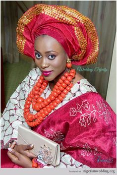 Nigerian Wedding sequin bling gele ~African Prints, African women dresses, African fashion styles, African clothing, Nigerian style, Ghanaian fashion