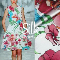 Red Floral Silk. Printed Silk Crepe by fabricAsians