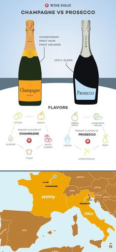 Champagne vs Prosecco: The Real Differences Q: What are the real differences between Champagne vs. Prosecco and why does one cost so much more than the other? The quick answer is Champagne is. Cabernet Sauvignon, Sauvignon Blanc, Pinot Noir, Cocktails, Wine Facts, Wine Folly, Chenin Blanc, Wine Education, Wine Guide