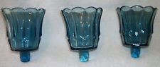 HOMCO 3 TULIP STARLIGHT BLUE Votive Cups Sconce Candle Holders $11.00 + 9.32 sh