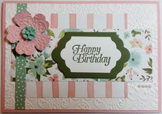 Birthday Card - using Stampin' Up! products including Birthday Bouquet Stamp Set DSP and Sky is the Limit Stamp Set