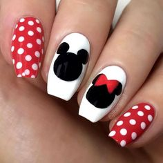 Red Polka Dots Nails With Mickey Mouse Design ❤️Bright And Trendy Polka Dots To Refresh Your Nails ❤️ See more: naildesignsjourna. Disney Acrylic Nails, Disney Nails, Dot Nail Art, Polka Dot Nails, Polka Dots, Disney Nail Designs, Nail Art Designs, Nails Design, Cute Nails