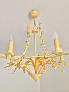 Large BAMBOO Iron Tole French CHANDELIER Vintage Light Chinoiserie - lustre tole peinte Bambou de la boutique FELIXsoFRENCH sur Etsy