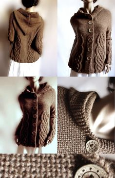 Handknit Hooded Jacket Sweater alpaca and merino wool  cabled pattern raglan sleeves wood  buttons Chocholate brown nutmeg. $230.00, via Etsy.