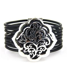 Look what I found on #zulily! Silver & Black Filigree Flower Magnetic Bracelet #zulilyfinds