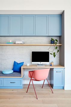 55 Cheap Home Office Cabinet Design Ideas For Easy Organization Storage - You might be surprised at some of the places that a home office can be found. There is a reason for an increase in home office interior design. In tod. Office Cabinet Design, Home Office Cabinets, Home Office Design, Home Office Decor, Home Decor, Blue Kitchen Island, Blue Kitchen Cabinets, Wall Of Light, Light Blue Walls